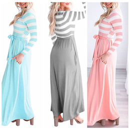 Wholesale army clothes online shopping - Long Sleeve Striped Patchwork Dress Colors Women Autumn Wear O neck Loose Beach Maxi Dresses Home Clothing OOA5585