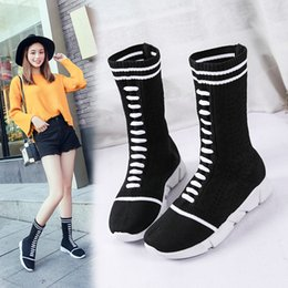 Fashionable low heels online shopping - The shoes of new luxury women in Spring European leg boots Female pine cake bottom fashionable socks shoes female tide T351