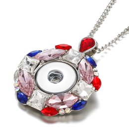 Colourful pendant neCklaCe online shopping - New Styles Snap Button Jewelry Colourful Rhinestone MM Ginger Snap Button Necklace for women jewelry