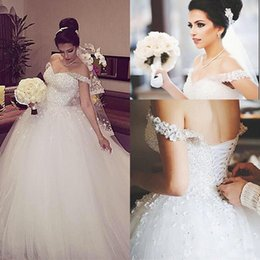 $enCountryForm.capitalKeyWord NZ - 2018 White Sexy Off-Shoulder Ball Gown Wedding Dresses Sparkly Crystals Lace-up Short Sleeves Backless Sweep Train Plus Size Bridal Gowns