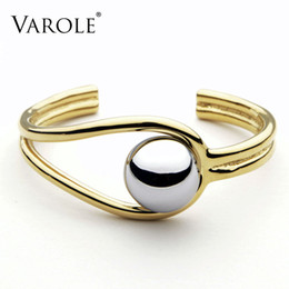 Bracelets Big Balls NZ - VAROLE Double Line Big Ball Cuff Bracelet Bangle For Women Manchette Gold Color Bracelets Stainless Steel Metal Bangle Pulseiras