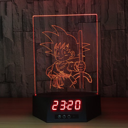 star night light boxes 2019 - Young GOKU 3D Illusion Clock Lamp Night Light RGB Lights USB Powered AA Battery IR Remote Dropshipping Retail Box discou