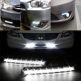 Großhandel Auto-styling 8LED Tagfahrlicht Autos DRL Die Nebelfahrt Tageslicht Drl Lampen Für Automatische Navigation Lichter Weiß
