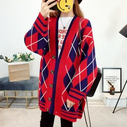 592c9a4297a Poncho Scarf Collar Real Jumper 2018 Autumn Winter New Pattern Knitting  Cardigan Korean Diamond Sweater Joker Loose Coat Tide