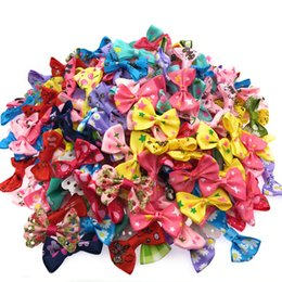 Wholesale 180pcs Mini Small Pringting Ribbon Bow Pet Bowknot Craft Only Bow No Clips Diy Wedding Decor Hair Accessories Pb001