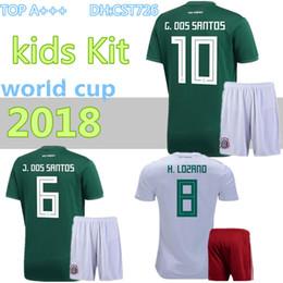 2018 World Cup Soccer jersey kids Kits Mexico home green CHICHARITO FABIAN G  DOS SANTOS Mexico away white child boy Football shirt b501c8230