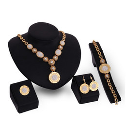 indian bridal jewelry sets wholesale Australia - Earrings Necklace Bracelet Ring Bridal Wedding Jewelry Fashion Women Luxury Rhinestone 18K Gold Plated Circles Party Jewelry 4-Piece Set