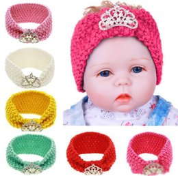 Wholesale 2018 Autumn Winter Infant Baby Knitted Headbands Girls Hair Bands Childrens Crown Hairband Lovely Kids Headwraps Hair Accessory Colors