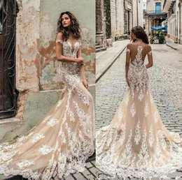 Chinese  Champagne Julie Vino Wedding Dresses 2018 Off Shoulder Deep Plunging Neckline Bridal Gowns Sweep Train Lace Wedding Dress Custom Made manufacturers