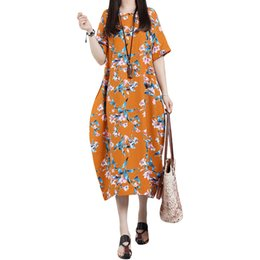 Kimono Floral Plus NZ - XXXL XXXXL 4XL 5XL Plus Size Dress Women Vintage Cotton Loose Dress Floral Print O-Neck Short Sleeve Pockets Casual Long Dress