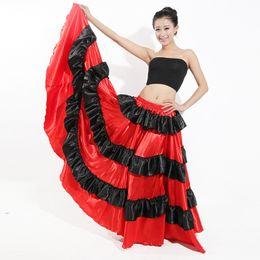 Belly Costumes Australia - Brazil Dance Costume Spanish Performance Use Gypsy Robe Baile Flamenco Women Skirts Ballroom Belly Dress Red Skirt DL2872