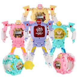 $enCountryForm.capitalKeyWord NZ - 8 Colors Cool Robot Wristwatch Transformation Toy Xmas Cartoon Watch Deformation Non-toxic Boys Watch Wristwatch DHL Free Shipping