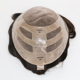 2 color marrón oscuro piel frontal para hombre sistema de reemplazo de pelo  Toupee Pieza c4bfc4f316e1
