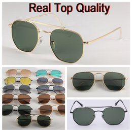 Red lense glasses online shopping - 3648 New Hexagonal Sunglasses G15 glass lense general model sun glasses shades men women UV400 glasses with all original packages