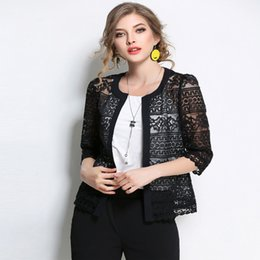 ae777cc690934 2018 New Women Plus Size Clothing 5xl 4xl Summer Ladies Spring Summer  Cardigan Coat Black Crochet Sexy Female White Lace Jacket S18101201