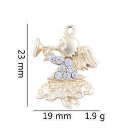 Discount gold fairy pendant - 23*19mm Girl Silver Gold Alloy Crystal Necklace Bracelet Pendant Fairy Angel Charms Pendant Jewelry Findings Gift