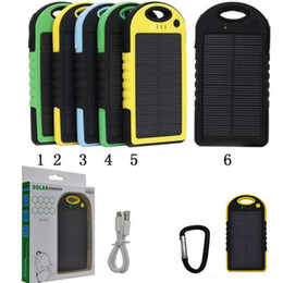 solar powered phone battery charger NZ - solar power Charger 5000mAh and Battery solar panel waterproof shockproof Dustproof portable power bank for Cell phone Laptop Camera 2 USB