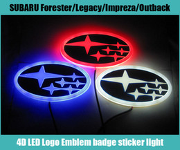 led badges for cars NZ - 14cm*7cm Car Emblem light for forester legacy impreza outback tribeca xv Badge Sticker LED light 4D logo Emblems light