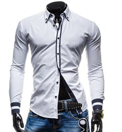 Double Shirt Designs Australia - TFGS New Mens Long Sleeved Dress Shirts Double Collar Button Unique Design Slim Fit Brand Shirts Chemise Homme Camisa Masculina