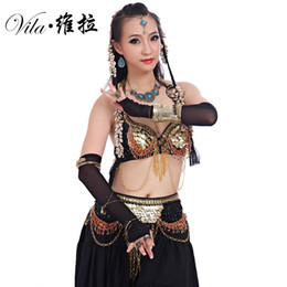 e8c428e465b2 Women Tribal Belly Dance Wear 2Pieces Outfit Set Antique Bronze Beads Bra  Belt Skirts Gypsy Dance Costumes