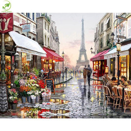 $enCountryForm.capitalKeyWord Australia - Frameless Pictures Europe DIY Painting By Numbers Wall Art Acrylic Oil Canvas Paintings Hand Painted Home Decor For Living Room