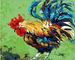 $enCountryForm.capitalKeyWord Australia - 16x20'' Retro DIY Chinese Art Farm Colorful Roosters Foraging in Flowers Paint by numbers Kit Art Acrylic Oil painting on Canvas