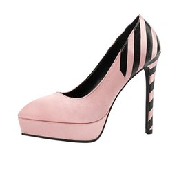 16f760d29a7 13cm Fashion striped satin pointy toe pumps shoes women designer high heel  platform shoes size 34 to 39
