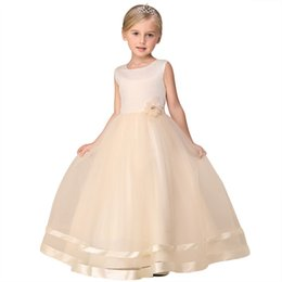 Ankle Length High Neck Wedding Dresses UK - 2018 European Children's Girl Wedding Dress Princess Solid Color Flower Girl Dresses High-end Longuette Evening Party Dresses
