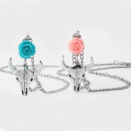 rose pendant jewellery NZ - 5pcs Antique Silver Cow Bull Ox Head Skull Charm & Rose Flower Pendant Necklace Country Western Jewellery