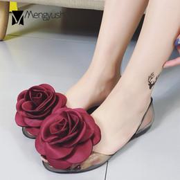 $enCountryForm.capitalKeyWord NZ - famous big camellia jelly shoes woman peep toe transparent flat sandals handmade flower sandalia feminina beach shoes woman c681