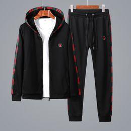China 18 new sportswear men's casual sports suit luxury men's sportswear brand hoodie jogging suit cool black cardigan zipper shirt + pants free s cheap fleece jogging suits suppliers