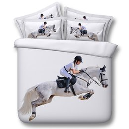 Blue Horse Bedding UK - 3D white horse bedding sets animal duvet cover bedspreads comforter cover Bed Linen Quilt Covers bed cover for adults boys men