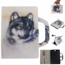 tablets case 9.7 Canada - Tablet Case For Samsung Galaxy Tab A 9.7 inch T550 T555 Handle Flip Cover Stand Leather Wallet Coloured drawing Tiger Lion wolf