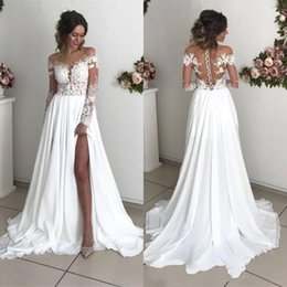 Discount front cover backless wedding dress - 2019 New Summer Boho Long Sleeves Wedding Dresses Sheer Appliques Off Shoulder Split Long Bridal Gowns Cheap BC0012