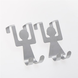 $enCountryForm.capitalKeyWord NZ - 2pcs lot Stainless Steel Lover Shaped Hook Style Cute Home Kitchen Bathroom Pan Hanger Clothes Storage Rails Household Goods