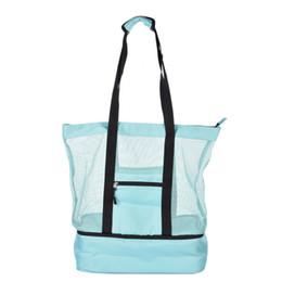 $enCountryForm.capitalKeyWord Australia - Single Shoulder Mesh Beach Tote Bag Zipper Top And Insulated Picnic Cooler Bag Ice Pack Outdoor Drink Multifunctional Handbag