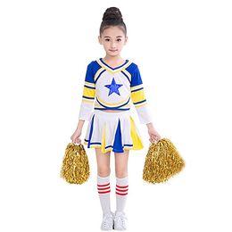 Cheerleaders Costumes UK - Children Girls Cheerleader Costume Uniform Blue Star Kids Cheerleading Outfit with Match  sc 1 st  DHgate.com & Shop Cheerleaders Costumes UK | Cheerleaders Costumes free delivery ...