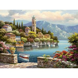 warming oils 2019 - 0329ZC129 Home wall Deco picture DIY number oil painting children Graffiti beautiful warm sea scene painting by numbers