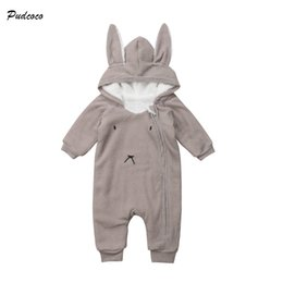 baby jumpsuit bunny 2019 - Pudcoco Cute Newborn Baby Boy Girl Autumn Winter Clothes Long Sleeve Bunny Ear Hooded Romper Jumpsuit Warm Outfits Baby