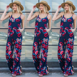 $enCountryForm.capitalKeyWord NZ - Autumn 2018 Jumpsuits For Women Sleeveless Loose Jumpsuit Spaghetti Strap Fashion Printed Tighten waist Elegant Women Jumpsuits