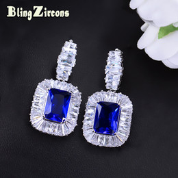 cz bridal chandelier earrings NZ - BlingZircons Bridal Wedding Ladies Royal Jewelry CZ Crystal Inlay Dark Blue Square Cubic Zircon Big Statement Drop Earrings E157