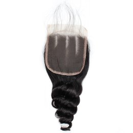 China Brazilian Peruvian Malaysian Loose Wave Closure with Baby Hair Good Virgin Human Hair 4*4 Loose Curl Middle Brown Color Fashion Lace Closure cheap good natural human hair suppliers