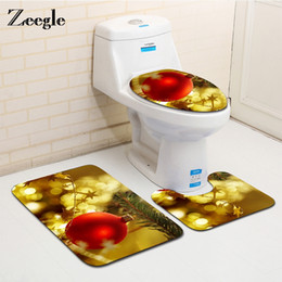 Zeegle Merry Christmas 3PCS Flannel Bath Mats Set Anti Slip Carpet For  Bathroom And Toilet Washable Floor Mats Bath Rugs