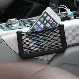phones net NZ - 15*8CM Car Storage Box Net Pocket Stacks Storage Bag Auto Mobile Phone Net Pocket Bag Rack Placement Organizer 20PCS
