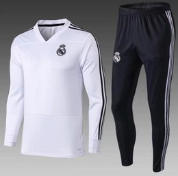 Wholesale top quality17 real madrid tracksuit home white away black sweater suit long pants madrid trainning sweater set jacket RONALDO