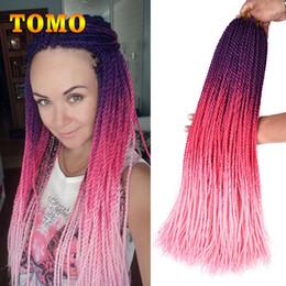 Bulk Packs Australia - Crochet Braids Synthetic Senegalese Twist Purple Red Pink Ombre Braiding Hair Extensions Black White Woman Braided Hair Bulk 30 Roots Pack