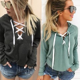 Women Fashion Lace Australia - Women Fashion Hoodies Lace Up V-neck Loose Tops Bandage Solid Long Sleeve Hoodies