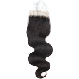 virgin hair free part lace closure 2019 - 8A Brazilian Peruvian Malaysian Virgin Hair with Baby Hair Fashion Body Wave Closure Human Hair Weave Swiss 4*4 Lace Clo