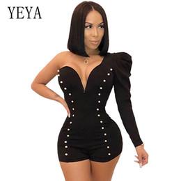 9e99ee7b387 YEYA One Shoulder Sexy Playsuit Long Sleeve Deep V Neck Beaded Elegant Jumpsuit  Romper Club Party Overalls Skinny Women Playsuit