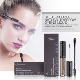 TaTToos branding online shopping - Pudaier Professional Eye Brow Tattoo Brand Cosmetics Long Lasting Pigments Black Brown Waterproof Eyebrow Liquid Makeup with Brush